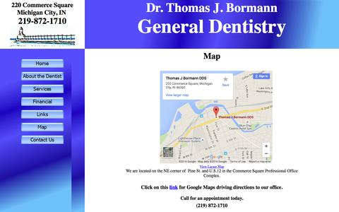 Screenshot of Maps & Directions Page bormanndds.com - Dentist in Michigan City, IN - Dental Office | Thomas J. Bormann DDS - captured June 23, 2016