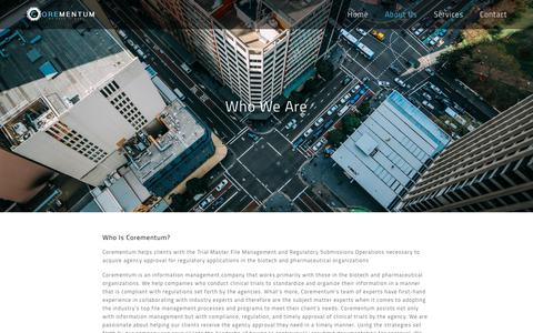 Screenshot of About Page corementum.com - Who We Are - Corementum - captured Nov. 5, 2018