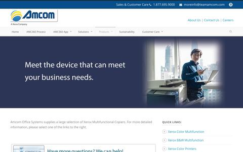 Screenshot of Products Page teamamcom.com - Amcom  Xerox Copiers Printers Coraopolis PA Multifunction MFP Pennsylvania Pitsburgh - captured Nov. 20, 2016