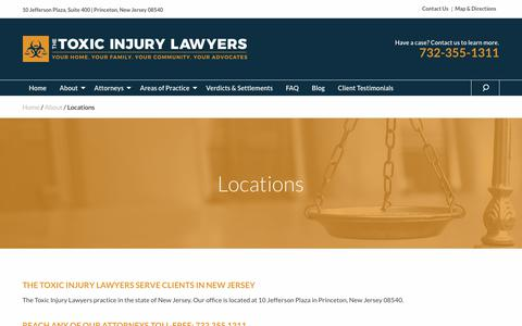 Screenshot of Locations Page toxicinjurylawyers.com - Locations - Lieberman & Blecher, P.C. - captured Oct. 20, 2018