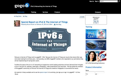 Screenshot of Blog gogo6.com - Special Report on IPv6 & The Internet of Things - gogoNET - captured Sept. 25, 2014