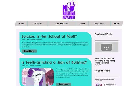 Screenshot of Blog nobullyingmovement.com - BLOG | No Bullying Movement | Anti-bullying Campaign - captured Nov. 14, 2017