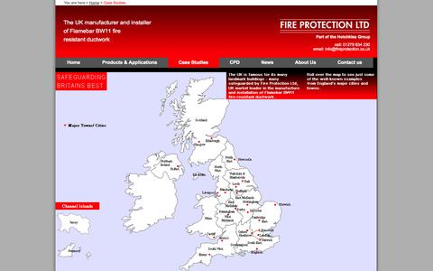 Screenshot of Case Studies Page fireprotection.co.uk - Fire Rated Ductwork, Fire Rated Duct, Fire Resistant Ductwork, Fire Protection - captured Oct. 6, 2014