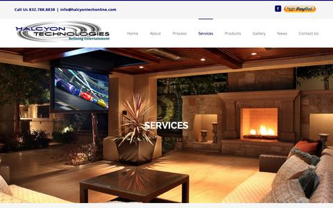 Screenshot of Services Page halcyontechonline.com - Smart Home technology, audio and video, and voice control. - captured Sept. 26, 2018