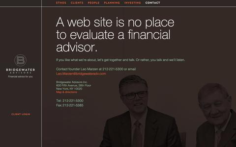 Screenshot of Contact Page bridgewateradv.com - Contact - Bridgewater Advisors - captured Oct. 6, 2018