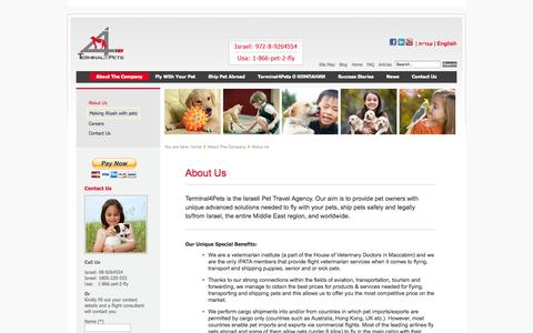 Screenshot of About Page terminal4pets.com - About Us - captured Oct. 29, 2014
