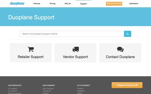 Screenshot of Support Page duoplane.com - Support Articles Archive - Duoplane Commerce - captured Sept. 22, 2014