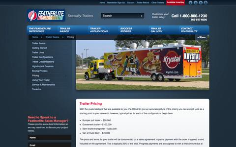 Screenshot of Pricing Page featherlitespecialty.com - Trailer Pricing - Specialty Trailers   Featherlite Trailers - captured Oct. 5, 2014