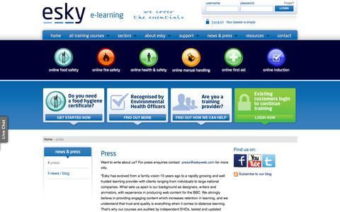 Screenshot of Press Page eskyweb.com - Press | Write about Esky Learning Ltd - captured Oct. 2, 2014