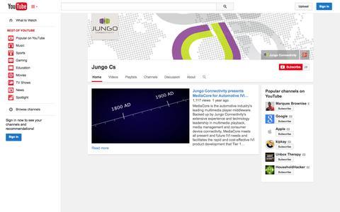 Screenshot of YouTube Page youtube.com - Jungo Cs  - YouTube - captured Oct. 23, 2014