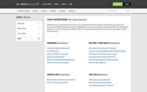 Screenshot of FAQ Page mojomarketplace.com - Frequently Asked Questions - captured Sept. 19, 2014