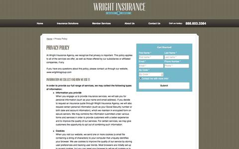 Screenshot of Privacy Page wrightinsgroup.com - Privacy Policy | Wright Insurance Agency of Janesville Wisconsin - captured Oct. 26, 2014