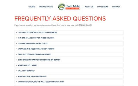 Screenshot of FAQ Page mahicruises.com - FAQ — Mahi Mahi Harbor Cruises & Events - captured Sept. 28, 2017