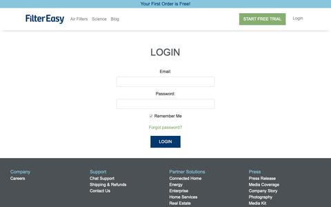 Screenshot of Login Page filtereasy.com - FilterEasy - captured June 5, 2019