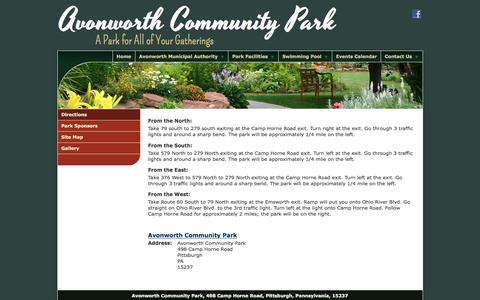 Screenshot of Maps & Directions Page avonworthcommunitypark.org - Directions - Avonworth Community Park - captured Oct. 9, 2017