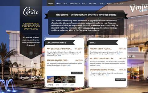 Screenshot of Home Page thecentreescondido.com - The Centre - Extraordinary Shopping, Dining & Event Venues - Escondido - captured June 22, 2015