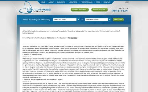 Screenshot of Testimonials Page adamwes.com - Math and Science Tutoring Testimonials - captured Oct. 4, 2014