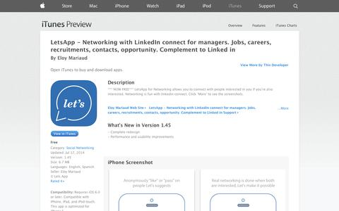 Screenshot of iOS App Page apple.com - LetsApp - Networking with LinkedIn connect  for managers. Jobs, careers, recruitments, contacts, opportunity. Complement to Linked in on the App Store on iTunes - captured Oct. 22, 2014