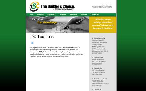 Screenshot of Locations Page fullertontbc.com - The Builder's Choice - captured Oct. 7, 2014