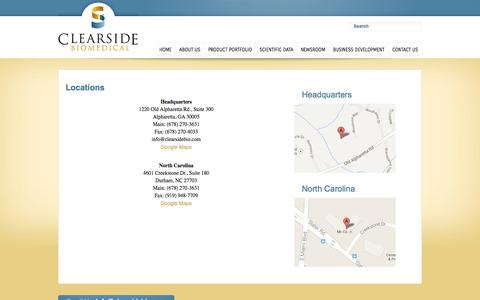 Screenshot of Locations Page clearsidebio.com - Locations   Clearside Biomedical - captured Sept. 13, 2014