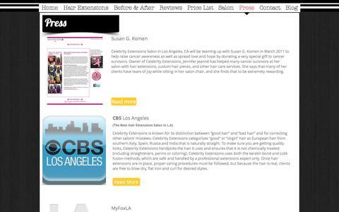 Screenshot of Press Page celebrityextensions.com - Celebrity Extensions Press, Celebrity Extensions - captured Oct. 28, 2016