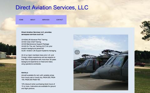 Screenshot of Services Page direct-aviation-services.com - Direct Aviation Services, Llc : Services - captured Feb. 26, 2016