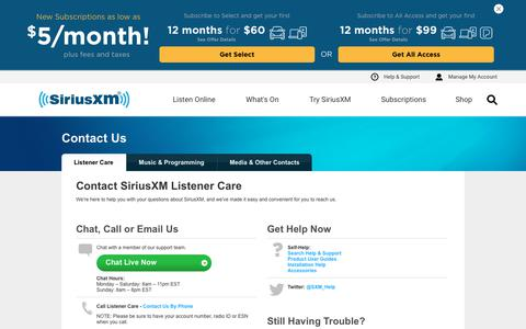 Screenshot of Contact Page siriusxm.com - Contact Us: The Listener Care Team | SiriusXM - captured Aug. 14, 2019