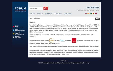 Screenshot of About Page forumlightingsolutions.com - About Us - captured Sept. 30, 2014