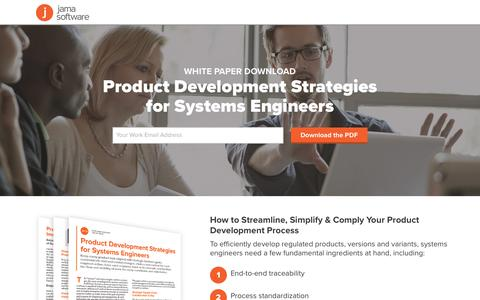 Screenshot of Landing Page jamasoftware.com - Product Development Strategies for Systems Engineers | Jama Software - captured Sept. 2, 2017
