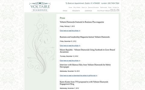 Screenshot of Press Page voltairediamonds.ie - Press   Voltaire Diamonds - captured Sept. 18, 2014