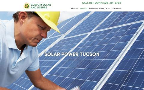 Screenshot of Services Page customsolarandleisure.com - Services - Solar Power Solutions by Custom Solar And Leisure - captured July 24, 2018