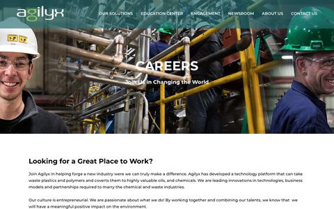 Screenshot of Jobs Page agilyx.com - Careers :: Agilyx - captured July 13, 2018