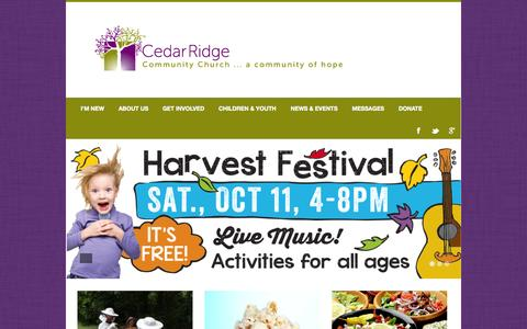 Screenshot of Home Page crcc.org - Home - Cedar Ridge Community ChurchCedar Ridge Community Church | A Community of Hope - captured Oct. 2, 2014