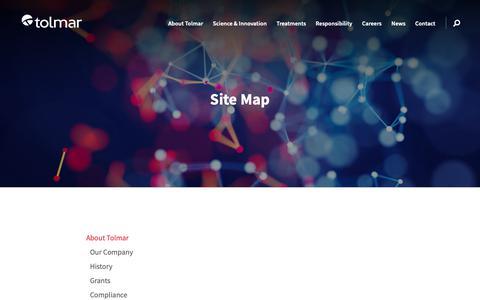 Screenshot of Site Map Page tolmar.com - Site Map | Tolmar - captured Oct. 18, 2018