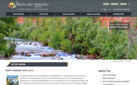 Screenshot of Press Page wildlandtrekking.com - The Wildland Trekking Company in the Media - captured Sept. 25, 2014