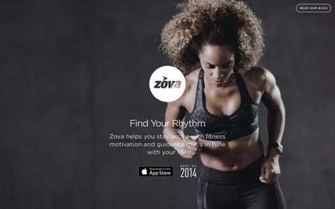 Screenshot of Home Page zova.com - Zova � Find Your Rhythm - captured Dec. 2, 2015