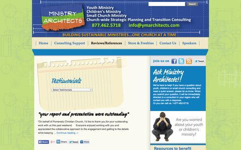 Screenshot of Testimonials Page ministryarchitects.com - Testimonials | - captured Oct. 7, 2014