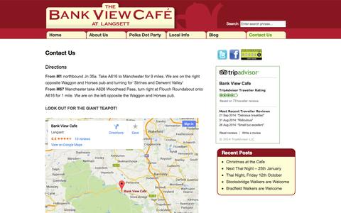 Screenshot of Contact Page bankviewcafe.co.uk - Contact Us | Bank View Cafe - captured Sept. 30, 2014