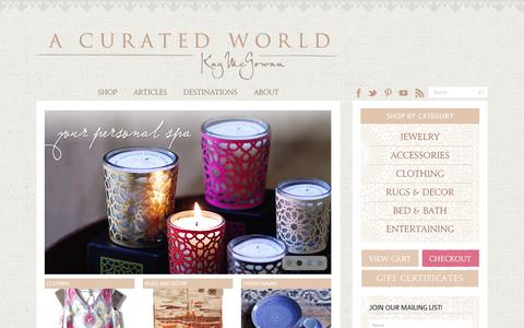 Screenshot of Home Page kaymcgowan.com - Shop the Globe with A Curated World by Kay McGowan - captured Sept. 10, 2014