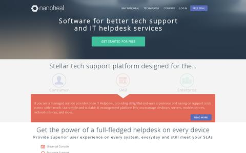 Screenshot of Home Page nanoheal.com - Nanoheal | Predictive Tech Support and IT Helpdesk Platform - captured July 11, 2014