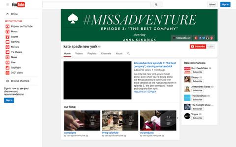 Screenshot of YouTube Page youtube.com - kate spade new york  - YouTube - captured Oct. 15, 2015