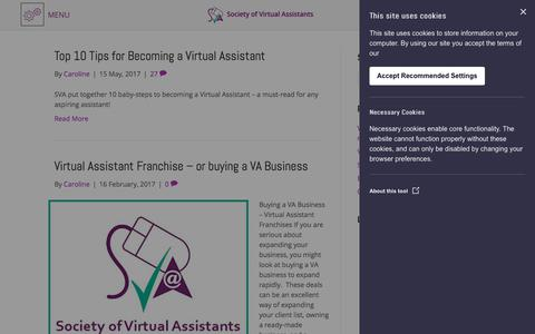 Screenshot of Blog societyofvirtualassistants.co.uk - Blog - Society of Virtual Assistants - captured Sept. 21, 2018