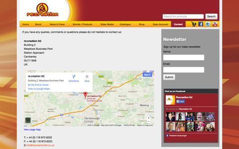 Screenshot of Contact Page recreationltd.co.uk - Contact - Recreation Ltd - captured Oct. 7, 2014