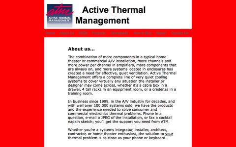 Screenshot of About Page activethermal.com - home theater cooling - captured Oct. 4, 2014