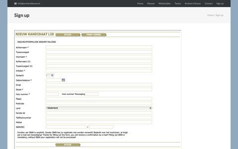 Screenshot of Signup Page arnhemfalcons.nl - Sign up – Arnhem Falcons - captured Nov. 30, 2018