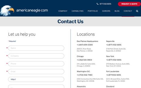 Screenshot of Contact Page americaneagle.com - Contact Us for your Online Needs | Americaneagle.com - captured March 1, 2018