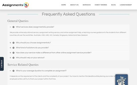 Screenshot of FAQ Page assignments4u.com - Frequently Asked Questions | Best Online Assignment Service in USA,UK,AUS - captured Oct. 22, 2018
