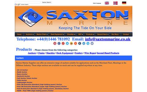 Screenshot of Products Page saxtonmarine.co.uk - Anchors, Chains, Mooring Products, and Deck equipment - captured Dec. 22, 2015