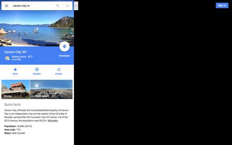 Screenshot of Maps & Directions Page google.com - Carson City, NV - Google Maps - captured Jan. 20, 2016
