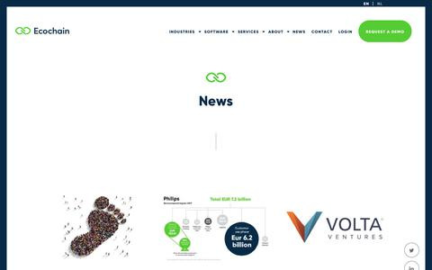 Screenshot of Press Page ecochain.com - News - Ecochain - captured Sept. 27, 2018